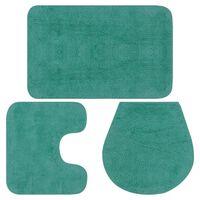 vidaXL vannasistabas paklāji, 3 gab., tirkīza krāsas audums