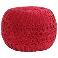 vidaXL pufs, kokvilna, samta izskats, 40x30 cm, sarkans