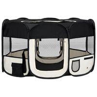 vidaXL saliekama suņu sētiņa, ar somu, melna, 145x145x61 cm