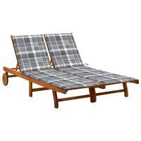 vidaXL divvietīgs sauļošanās zvilnis ar matračiem, akācijas masīvkoks