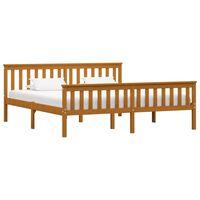 vidaXL gulta, medus brūna, 180x200 cm, priedes masīvkoks