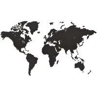 MiMi Innovations koka pasaules kartes sienas dekorācija Luxury, melna