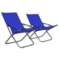 vidaXL salokāmi pludmales krēsli, 2 gab., zils audums