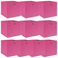 vidaXL uzglabāšanas kastes, 10 gab., 32x32x32 cm, rozā audums