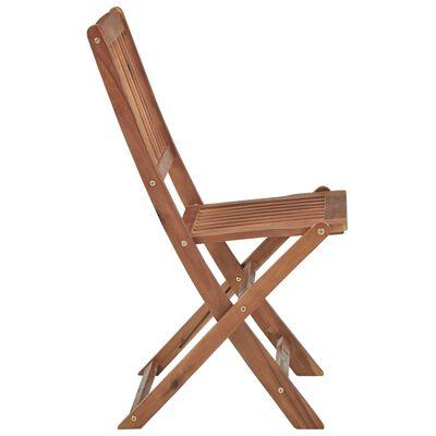 vidaXL saliekami dārza krēsli ar matračiem, 4 gb., akācijas masīvkoks