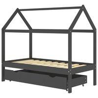 vidaXL bērnu gultas rāmis ar atvilktni, tumši pelēks, priede, 80x160cm