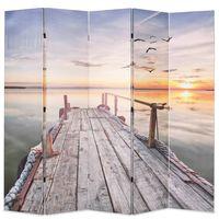 vidaXL istabas aizslietnis, 200x170 cm, saliekams, ezera ainava