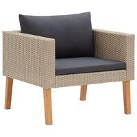 vidaXL dārza dīvāns ar matračiem, vienvietīgs, bēšs PE pinums
