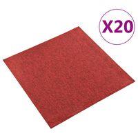 vidaXL paklājflīzes, 20 gab., 5 m², 50x50 cm, sarkanas
