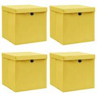 vidaXL uzglabāšanas kastes ar vāku, 4 gab., 32x32x32 cm, dzeltenas