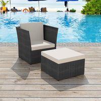 vidaXL dārza krēsls ar kājsoliņu, melns PE rotangpalmas pinums