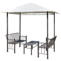 vidaXL dārza nojume ar galdu un soliem, 2,5x1,5x2,4 m