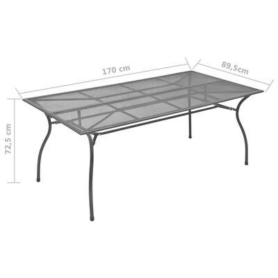 vidaXL 7-daļīgs dārza mēbeļu komplekts, tērauds, antracītpelēks