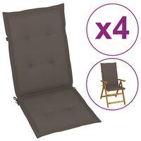 vidaXL dārza krēslu matrači, 4 gab., 120x50x4 cm, pelēkbrūni