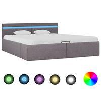 vidaXL hidraulisks gultas rāmis ar LED, pelēkbrūns, 160x200 cm, audums