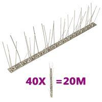 vidaXL putnu atbaidīšanas radzes, 5 rindas, 40 gab., 20 m, tērauds