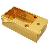 vidaXL izlietne ar noteci, 49x25x15 cm, keramika, zelta krāsa