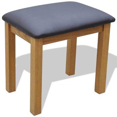 vidaXL tualetes galdiņš ar tabureti, ozola masīvkoks