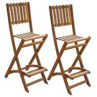 vidaXL saliekami dārza bāra krēsli, 2 gab., akācijas masīvkoks