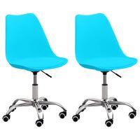vidaXL biroja krēsli, 2 gab., zila mākslīgā āda