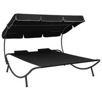 vidaXL Outdoor Lounge Bed with Canopy and Pillows Black