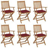 vidaXL saliekami dārza krēsli ar matračiem, 6 gb., akācijas masīvkoks