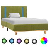 vidaXL gultas rāmis ar LED, zaļš audums, 90x200 cm