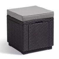 Allibert uzglabāšanas pufs, kuba forma, grafītpelēks, 213785