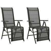 vidaXL atgāžami dārza krēsli, 2 gab., tekstilēns, alumīnijs, melni
