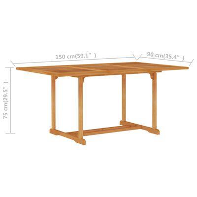vidaXL dārza galds, 150x90x75 cm, masīvs tīkkoks