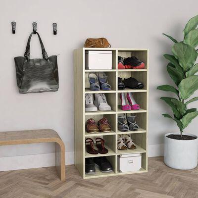 vidaXL apavu plaukts, ozolkoka krāsa, 54x34x100 cm, kokskaidu plāksne