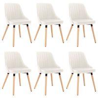 vidaXL virtuves krēsli, 6 gab., krēmkrāsas samts