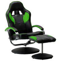 vidaXL sacīkšu atpūtas krēsls ar kāju soliņu, atgāžams, zaļš