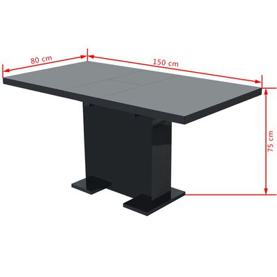 vidaXL izvelkams virtuves galds, spīdīgi melns