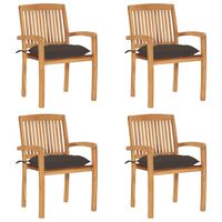 vidaXL dārza krēsli ar matračiem, 4 gab., masīvs tīkkoks