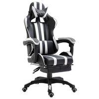 vidaXL datorspēļu krēsls ar kāju balstu, balta mākslīgā āda