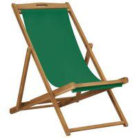 vidaXL saliekams pludmales krēsls, masīvs tīkkoks, zaļš