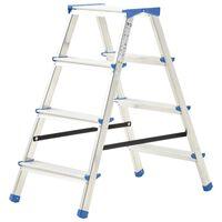 vidaXL divpusējas kāpnes, 4 pakāpieni, 90 cm, alumīnijs