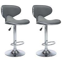 vidaXL bāra krēsli, 2 gab., pelēka mākslīgā āda