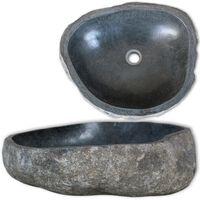 vidaXL izlietne, 46-52 cm, ovāla, upes akmens