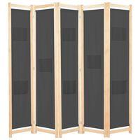 vidaXL 5-paneļu istabas aizslietnis, 200x170x4 cm, pelēks audums