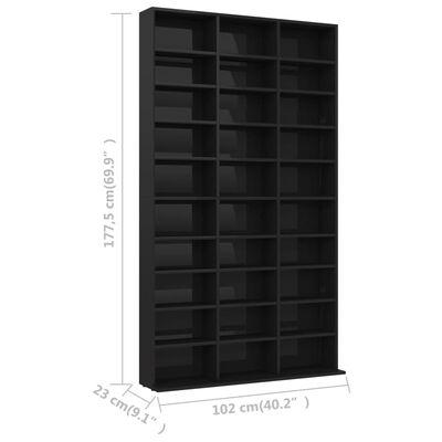 vidaXL CD plaukts, spīdīgi melns, 102x23x177,5 cm, skaidu plāksne