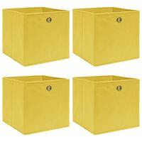 vidaXL uzglabāšanas kastes, 4 gab., dzeltenas, 32x32x32 cm, audums