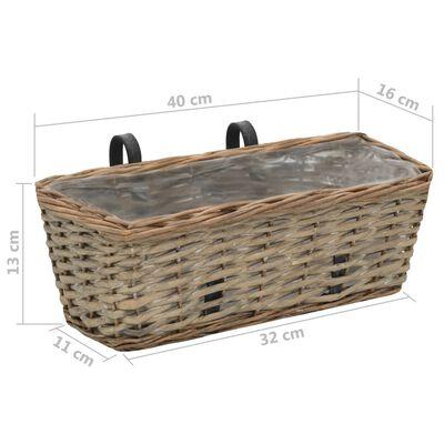 vidaXL balkona puķu kastes, 2 gab., pinums ar PE oderi, 40 cm