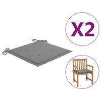 vidaXL dārza krēslu spilveni, 2 gab., pelēki, 50x50x4 cm