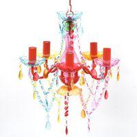 Daudzkrāsaina Kristāla Lustra 5 Spuldžu Ligzdas
