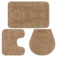 vidaXL vannasistabas paklāji, 3 gab., bēšs audums