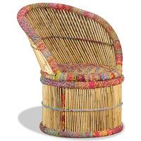 vidaXL krēsls ar auduma detaļām, bambuss
