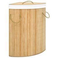 vidaXL stūra veļas grozs, bambuss, 60 L