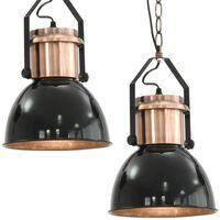 vidaXL griestu lampas, 2 gab., apaļas, E27, melnas